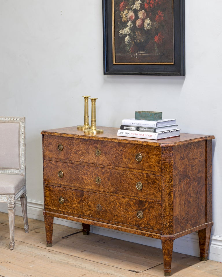 Veneer 19th Century Gustavian Chest of Drawers For Sale