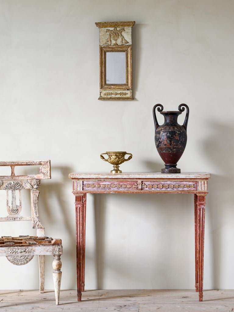 Fine 19th century Provincial Gustavian console table in its original finish, circa 1810  Good condition with wear consistent with age and use. Original finish. Structurally good and sturdy.