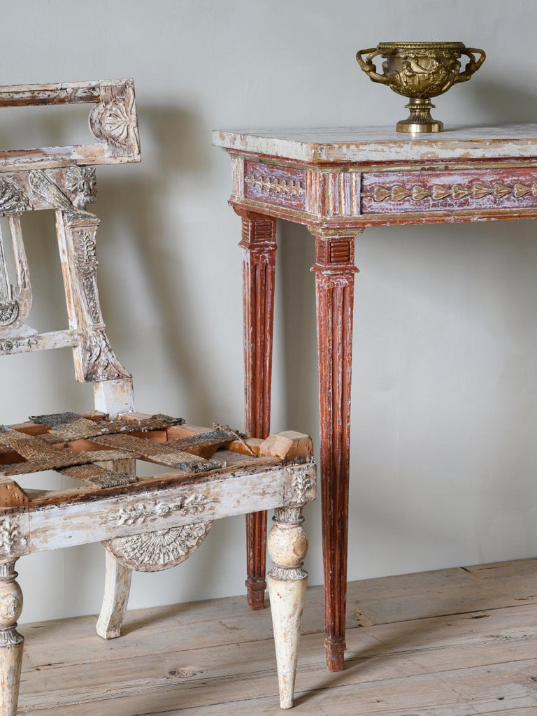 Hand-Carved 19th Century Gustavian Console Table For Sale