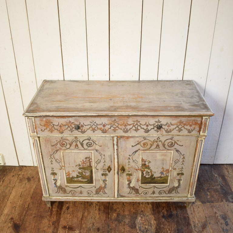 German 19th Century Gustavian Painted Pine Cupboard For Sale