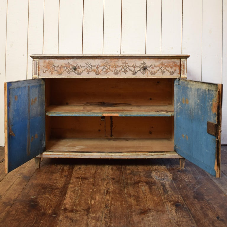 19th Century Gustavian Painted Pine Cupboard For Sale 2