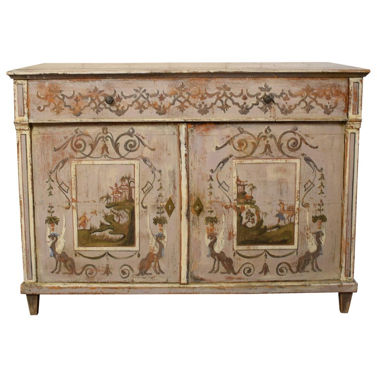 19th Century Gustavian Painted Pine Cupboard For Sale