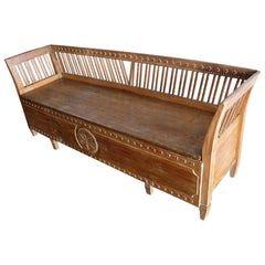 19th Century Gustavian Period Swedish Pine Bench with Storage