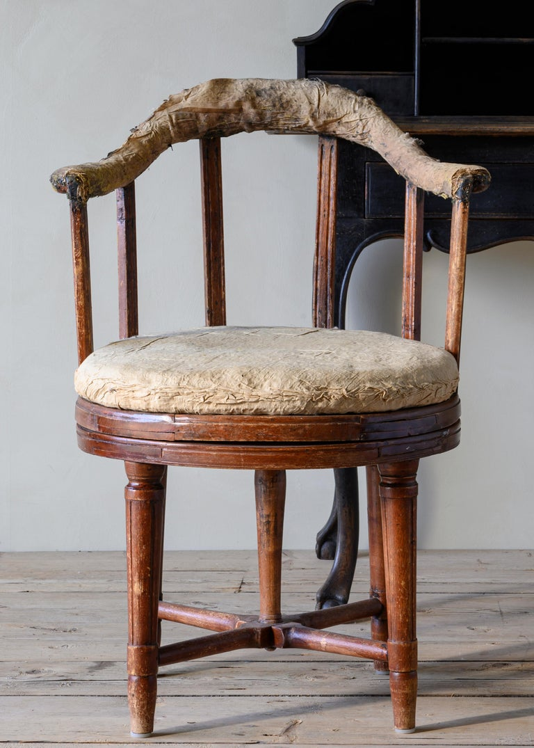 Hand-Crafted 19th Century Gustavian Revolving Desk Chair For Sale
