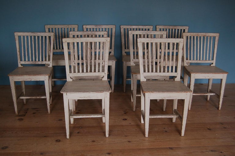 19th century Gustavian slat-back chairs, set of ten (10), Sweden, circa 1810.