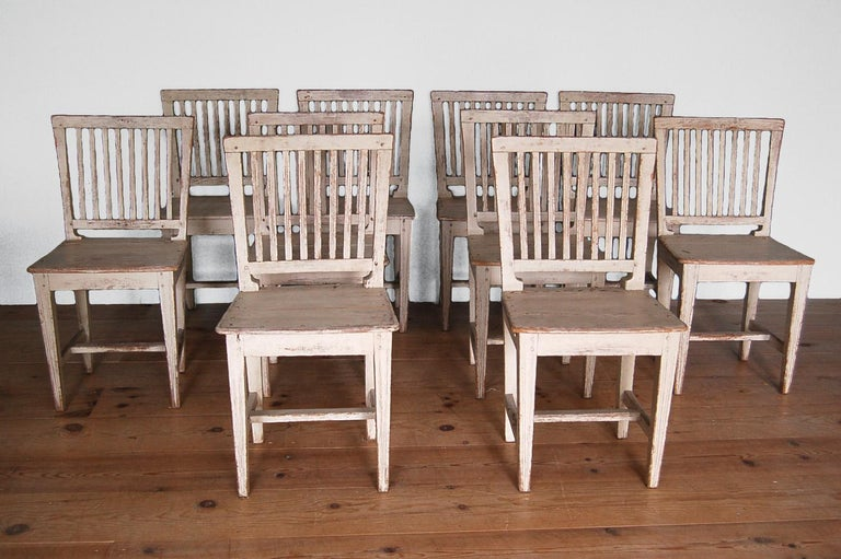 Swedish 19th Century Gustavian Slat-back Chairs, Set of Ten, Sweden, circa 1810 For Sale