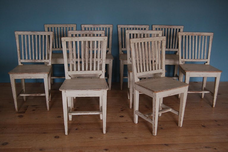 Hand-Carved 19th Century Gustavian Slat-back Chairs, Set of Ten, Sweden, circa 1810 For Sale