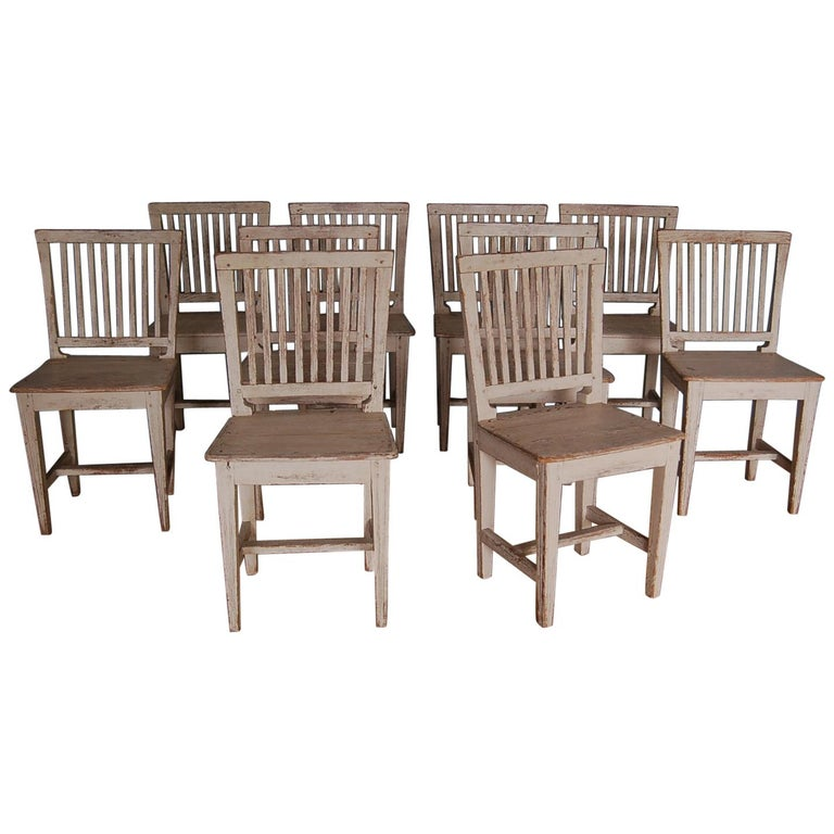 19th Century Gustavian Slat-back Chairs, Set of Ten, Sweden, circa 1810 For Sale