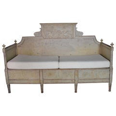 19th Century Gustavian Swedish Painted Wooden Bench