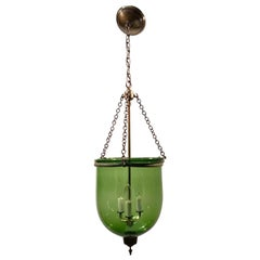 19th Century Hand Blown Green Glass Bell Jar Pendant Light with New Hardware