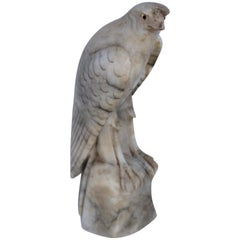 19th Century Hand Carved Alabaster Hawk with Glass Eyes