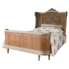 19th Century Hand Carved and Hand Painted Queen Size Bed Frame Louis XVI Style