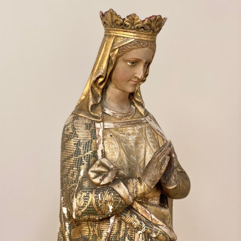 19th Century Hand Carved and Painted Madonna, circa 1860s 3