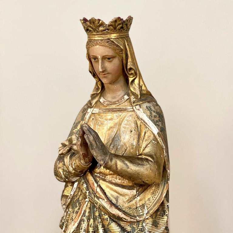 19th Century Hand Carved and Painted Madonna, circa 1860s 4