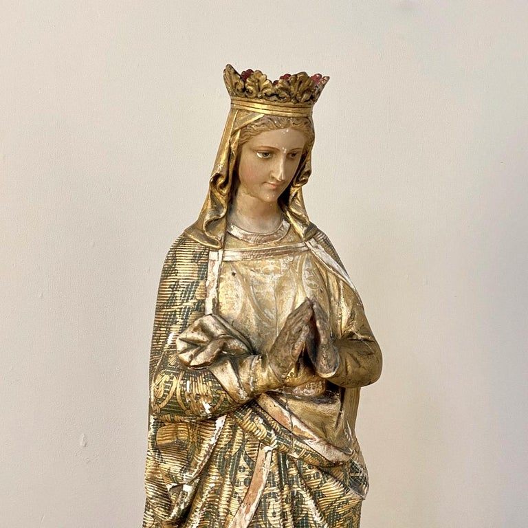 19th Century Hand Carved and Painted Madonna, circa 1860s 5
