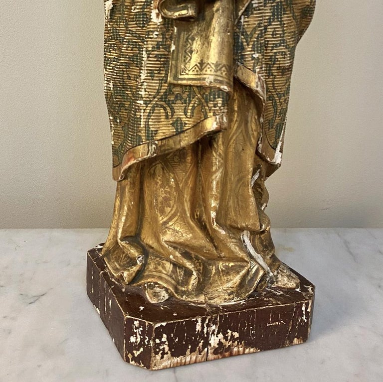 19th Century Hand Carved and Painted Madonna, circa 1860s 6