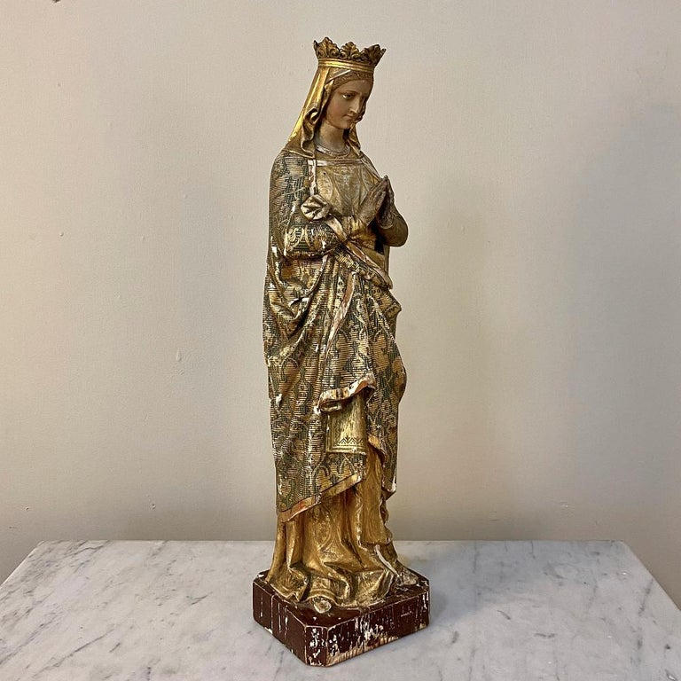 Baroque Revival 19th Century Hand Carved and Painted Madonna, circa 1860s