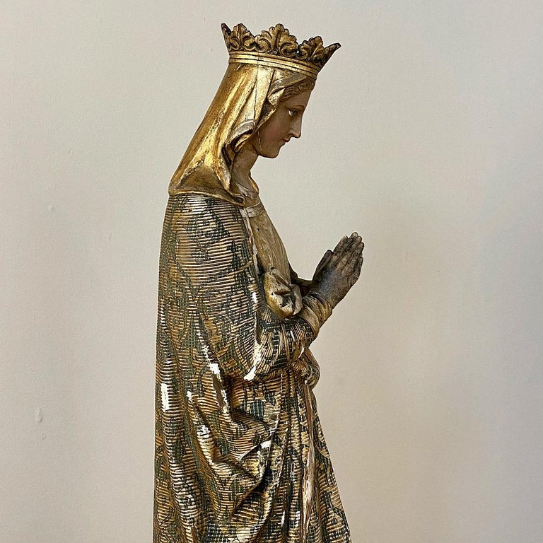 19th Century Hand Carved and Painted Madonna, circa 1860s 1