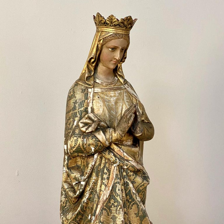 19th Century Hand Carved and Painted Madonna, circa 1860s 2