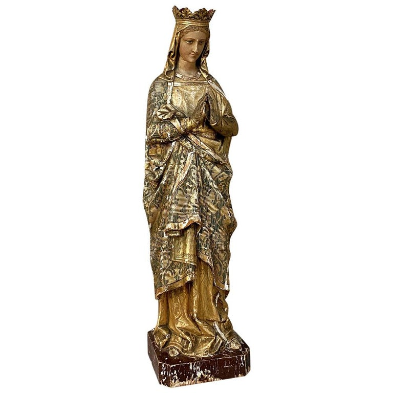 19th Century Hand Carved and Painted Madonna, circa 1860s