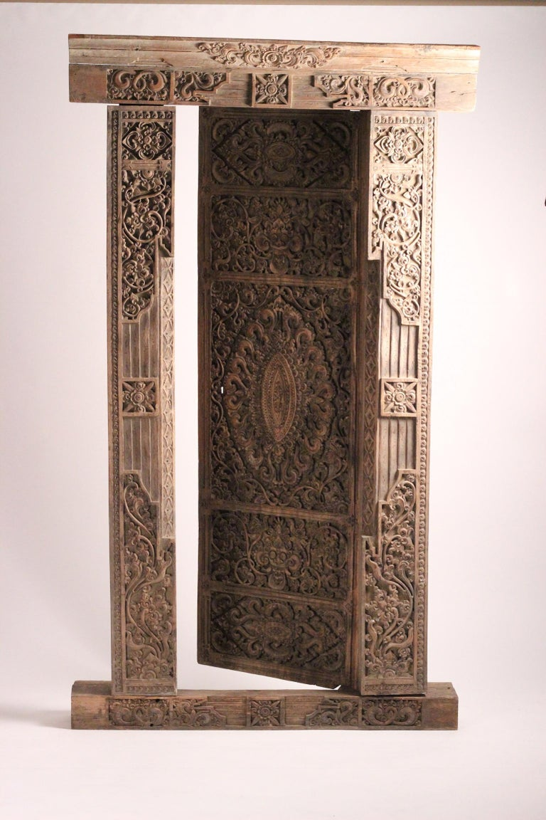 Other 19th Century Hand Carved Balinese Temple Door For Sale