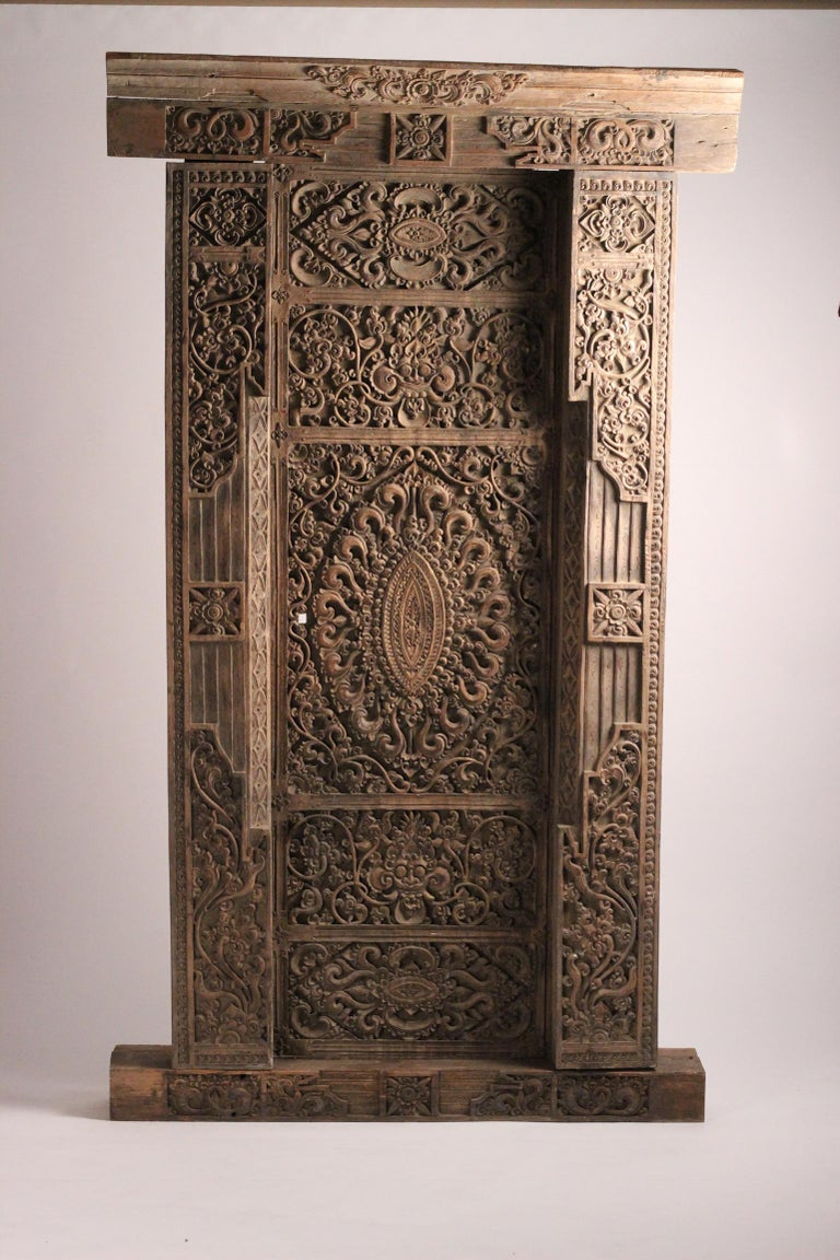 Hand-Carved 19th Century Hand Carved Balinese Temple Door For Sale