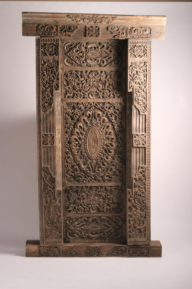 19th Century Hand Carved Balinese Temple Door In Good Condition For Sale In London, GB