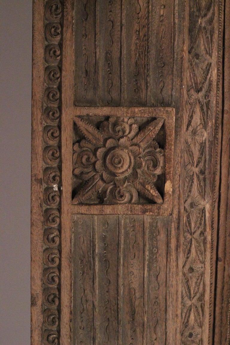 Teak 19th Century Hand Carved Balinese Temple Door For Sale
