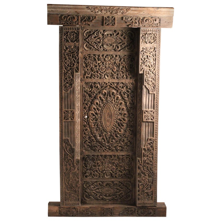 19th Century Hand Carved Balinese Temple Door For Sale
