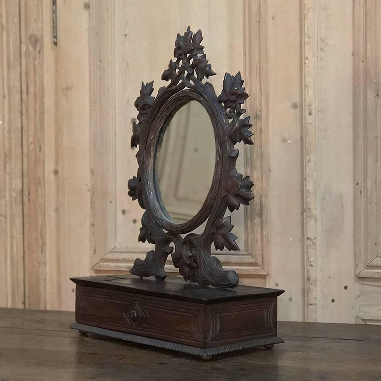 19th Century Hand-Carved Black Forest Vanity Mirror-Box For Sale 5