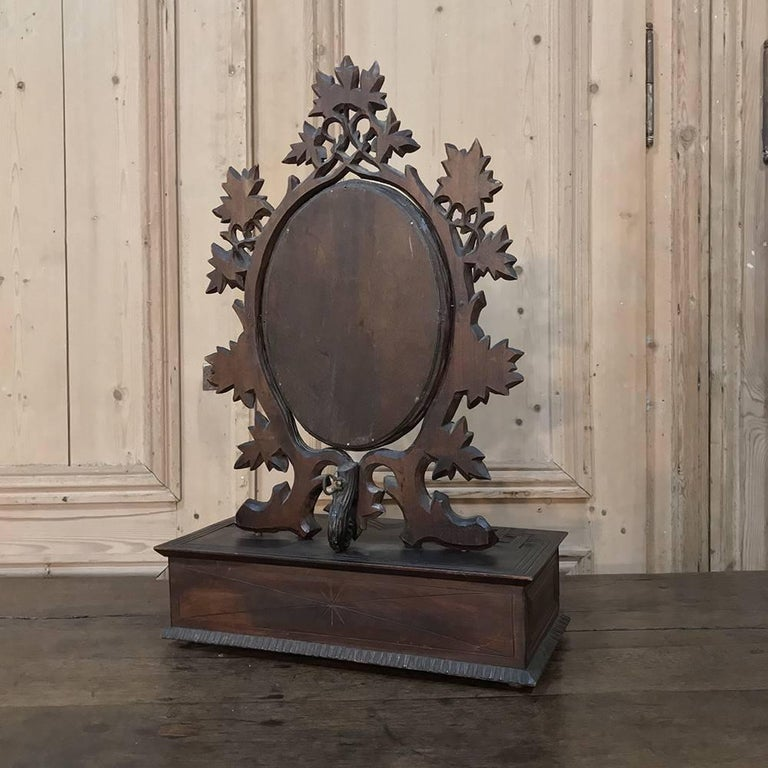 19th Century Hand-Carved Black Forest Vanity Mirror-Box For Sale 6
