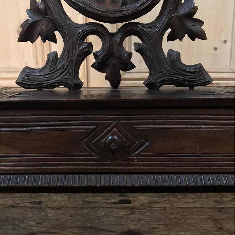 Late 19th Century 19th Century Hand-Carved Black Forest Vanity Mirror-Box For Sale