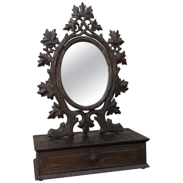 19th Century Hand-Carved Black Forest Vanity Mirror-Box For Sale
