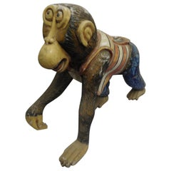 19th Century Hand Carved Carnival Monkey