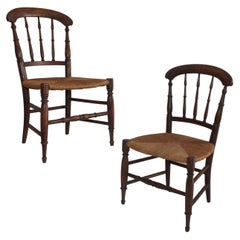 19th Century Hand Carved Children's Chairs, Pair