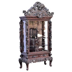 19th Century Hand Carved Chinese Dragon Vitrine Showcase Cabinet
