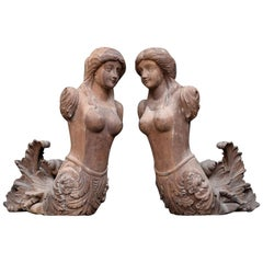 19th Century Hand Carved English Estate Mermaid Architectural Fragment Figures