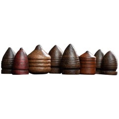 19th Century Hand Carved English Spinning Tops