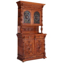 19th Century Hand Carved French Henri II Style Oak Cabinet