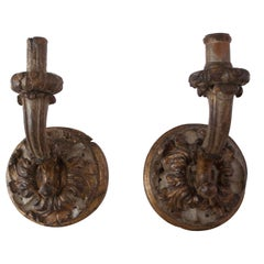 19th Century Hand Carved Giltwood Wall Sconces