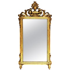 19th Century Hand Carved Gold Gilt Wood French Regency Style Full Length Mirror