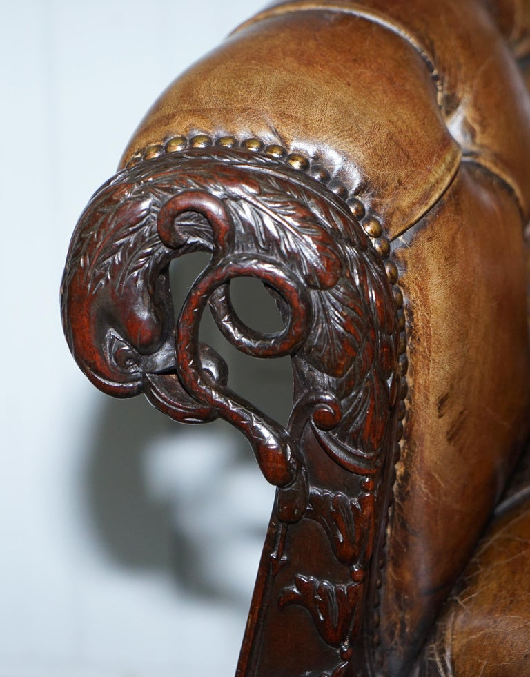 19th Century Hand Carved Hawk Claw and Ball Feet Chesterfield Sofa Brown Leather For Sale 4