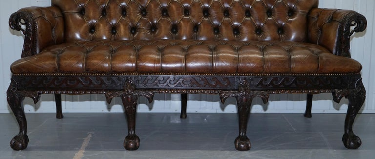 19th Century Hand Carved Hawk Claw and Ball Feet Chesterfield Sofa Brown Leather For Sale 6