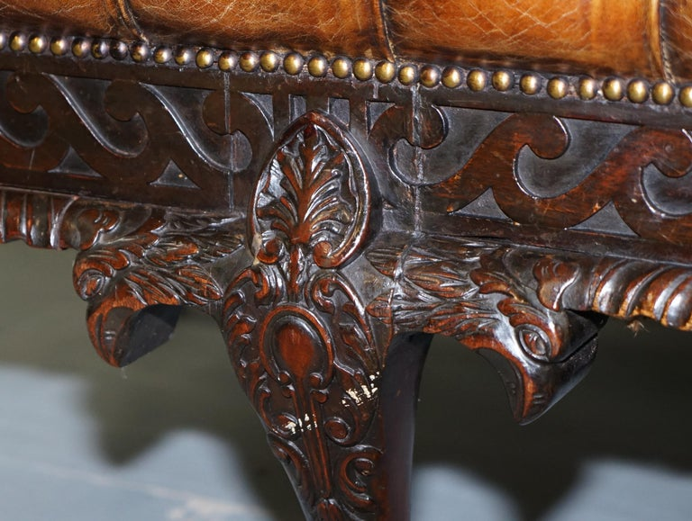 19th Century Hand Carved Hawk Claw and Ball Feet Chesterfield Sofa Brown Leather For Sale 9