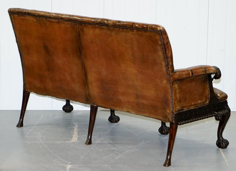 19th Century Hand Carved Hawk Claw and Ball Feet Chesterfield Sofa Brown Leather For Sale 13