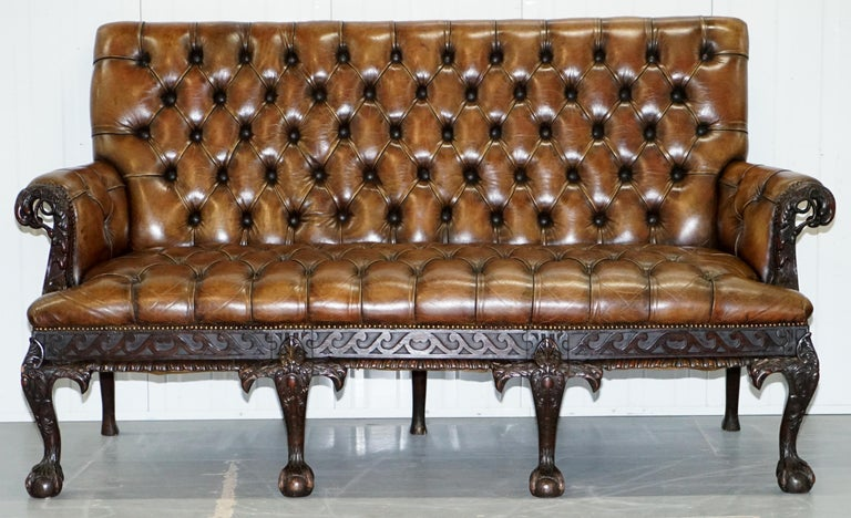Victorian 19th Century Hand Carved Hawk Claw and Ball Feet Chesterfield Sofa Brown Leather For Sale