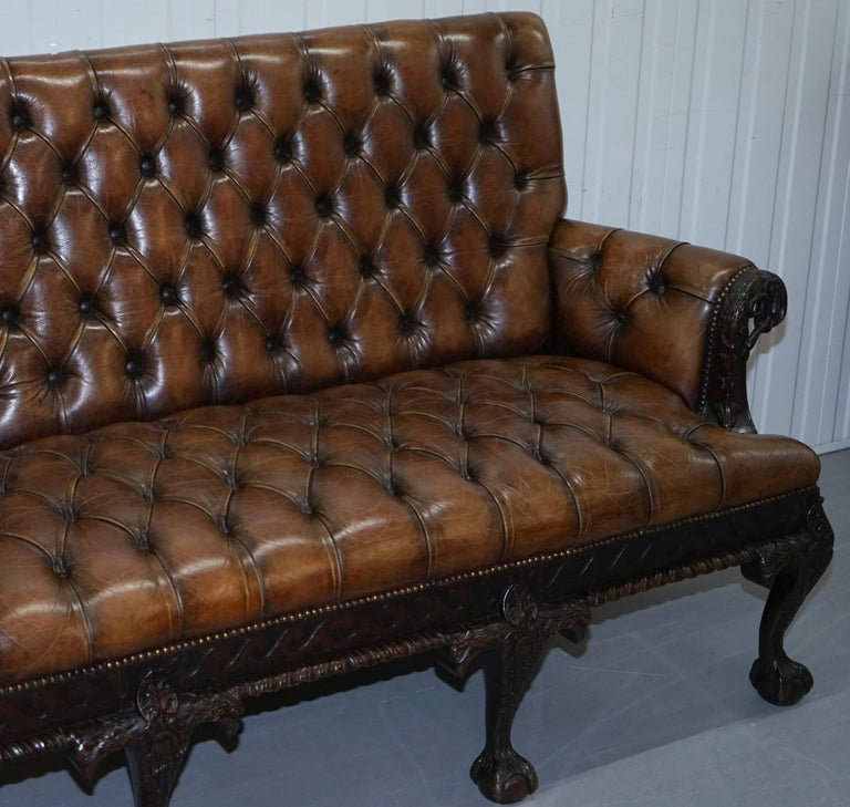 English 19th Century Hand Carved Hawk Claw and Ball Feet Chesterfield Sofa Brown Leather For Sale