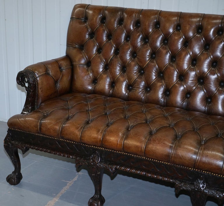 Hand-Crafted 19th Century Hand Carved Hawk Claw and Ball Feet Chesterfield Sofa Brown Leather For Sale