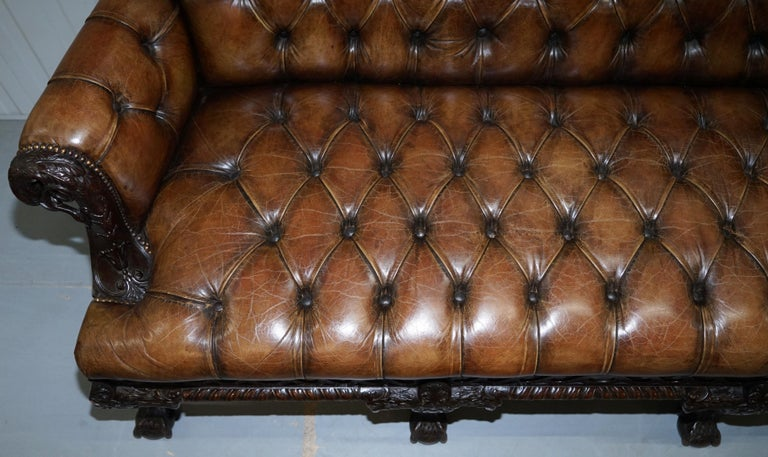 19th Century Hand Carved Hawk Claw and Ball Feet Chesterfield Sofa Brown Leather For Sale 1