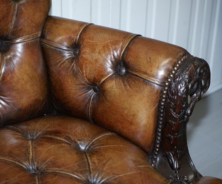 19th Century Hand Carved Hawk Claw and Ball Feet Chesterfield Sofa Brown Leather For Sale 2
